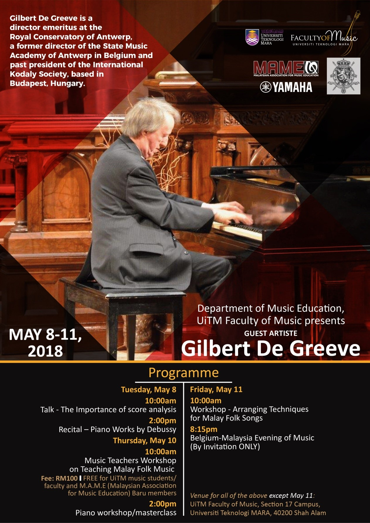 PIANO MASTERCLASSES, WORKSHOPS AND CONCERTS BY GILBERT DE GREEVE (BELGIUM)
